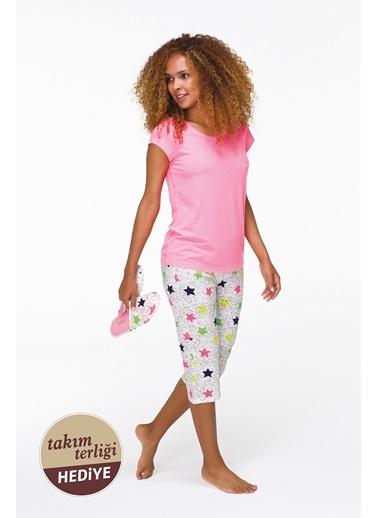 Hays Promo Kadın Terlik Hediyeli Penye Kapri Pijama Takımı